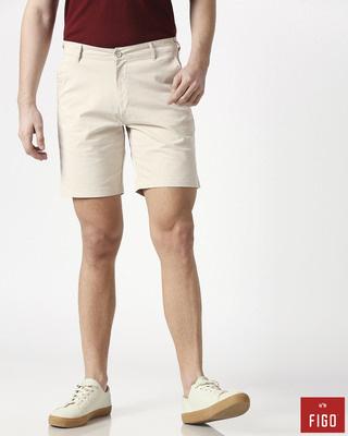 Shop Figo Beige Men's Chinos Shorts-Front
