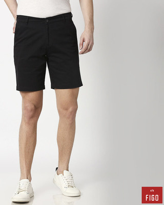 Shop Figo Black Men's Chinos Shorts-Front