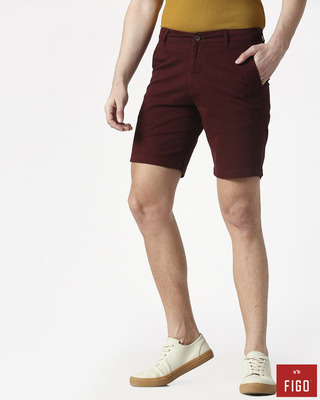 Shop Figo Burgundy Men's Chinos Shorts-Front