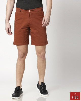 Shop Figo Burnt Orange Men's Chinos Shorts-Front