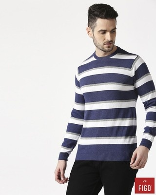 Shop Figo Indigo Blue Striped Sweater-Front