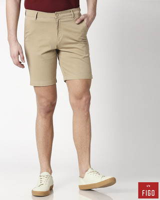 Shop Figo Khakhi Men's Chinos Shorts-Front