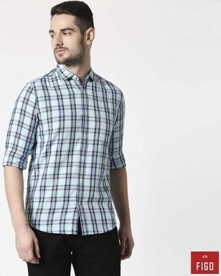 Shop Figo Men's Arctic Blue Slim Fit Casual Check Shirt-Front