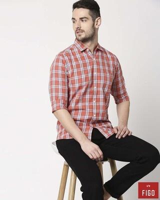 Shop Figo Men's Coral Pink Slim Fit Casual Check Shirt-Front
