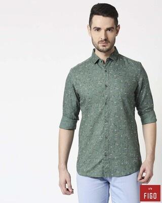 Shop Figo Men's Jumper Green Slim Fit Casual Print Shirt-Front