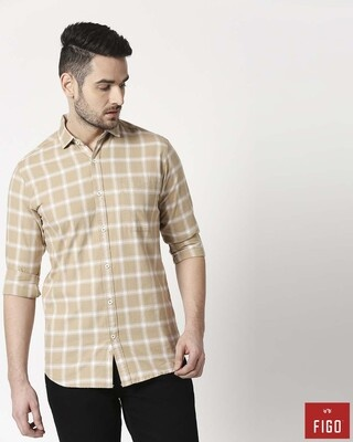 Shop Figo Men's Khakhi Slim Fit Casual Check Shirt-Front