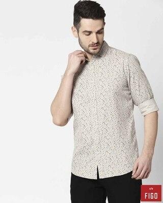 Shop Figo Men's Khakhi Slim Fit Casual Print Shirt-Front