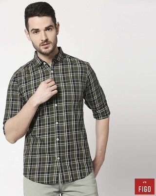 Shop Figo Men's Olive Green Slim Fit Casual Check Shirt-Front