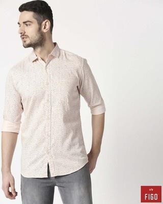 Shop Figo Men's Pink Slim Fit Casual Print Shirt-Front