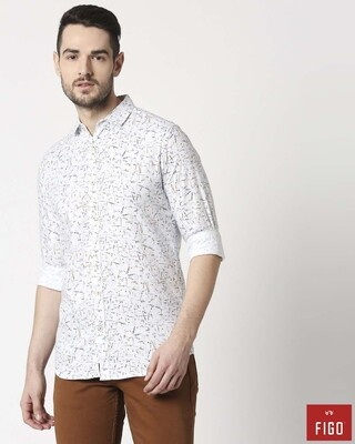 Shop Figo Men's White Slim Fit Casual Print Shirt-Front