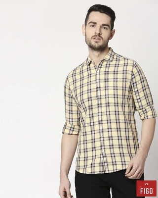 Shop Figo Men's Yellow Slim Fit Casual Check Shirt-Front