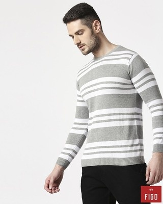 Shop Figo Stone Grey Striped Sweater-Front