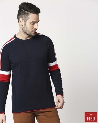 Shop Figo Striped Navy Sweater-Front