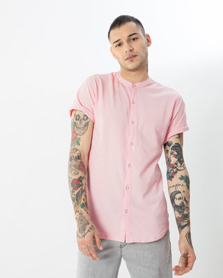 Shop Fiji Pink Mandarin Collar Pique Shirt-Front
