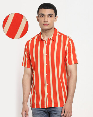 Shop Fire Whirl Dot And Stripe AOP Half Sleeve Shirt-Front