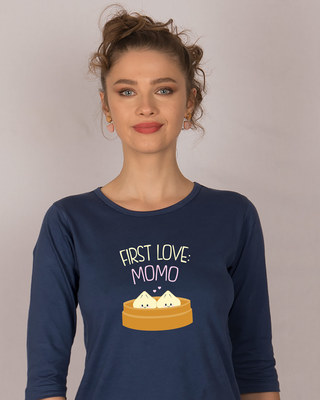 Shop First Love- Momo Round Neck 3/4th Sleeve T-Shirt-Front