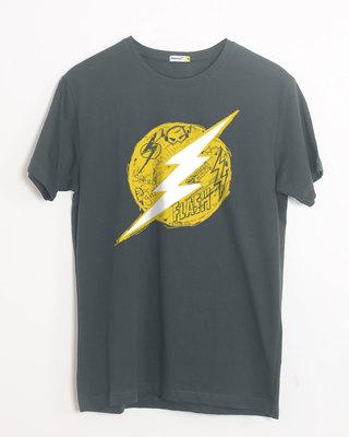 Shop Flash Doodle Logo Half Sleeve T-Shirt (FL)-Front