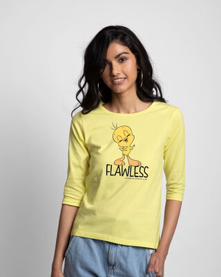 Shop Flawless Tweety Round Neck 3/4th Sleeve T-Shirt (LTL)-Front