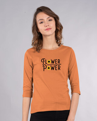Shop Flower Power Women's Printed Round Neck 3/4 Sleeve T-Shirts-Front
