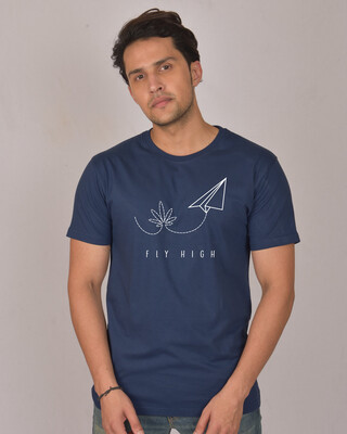 Shop Fly Paper Plane Half Sleeve T-Shirt-Front