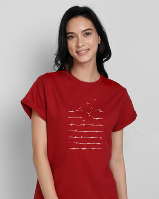 Shop Flying Wire Printed Boyfriend T-Shirts Bold Red-Front