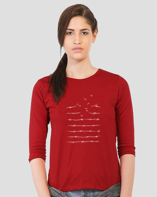 Shop Flying Wire Round Neck 3/4 Sleeve T-Shirts Bold Red-Front
