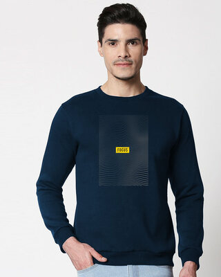 Shop Focus Abstract Fleece Sweater Navy Blue-Front