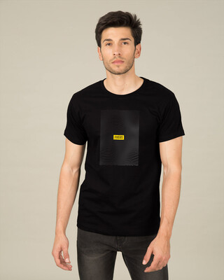 Shop Focus Abstract Half Sleeve T-Shirt Black-Front