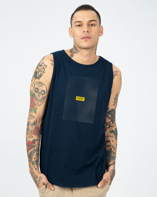 Shop Focus Abstract Round Neck Vest Navy Blue-Front