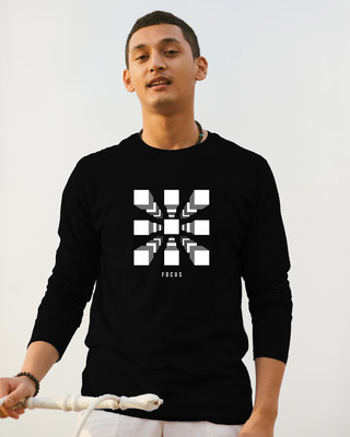 Shop Focus Blocks Full Sleeve T-Shirt Black-Front