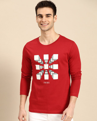 Shop Focus Blocks Full Sleeve T-Shirt Bold Red-Front