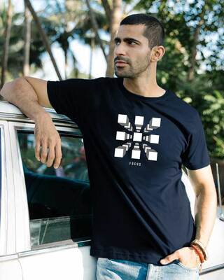 Shop Focus Blocks Half Sleeve T-Shirt Navy Blue-Front