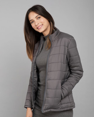 Shop Fog Grey Plain Puffer Jacket-Front