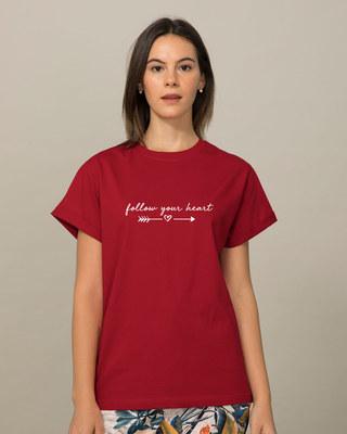 Shop Follow Heart Boyfriend T-Shirt-Front