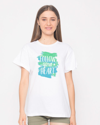 Shop Follow Your Heart Boyfriend T-Shirt-Front