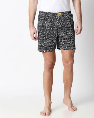 Shop Foodie Black Knitted Boxers-Front