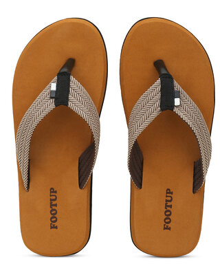 Shop Footup Men's Light Comfortable And Stylish Colorfull Fabrication Slippers-Front