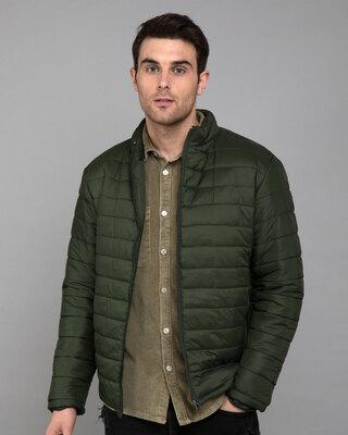 Shop Forest Green Plain Puffer Jacket-Front
