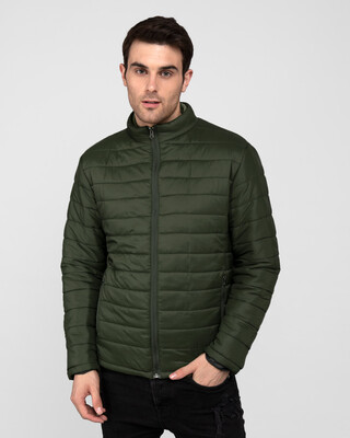 Shop Forest Green Plain Puffer Jacket-Front