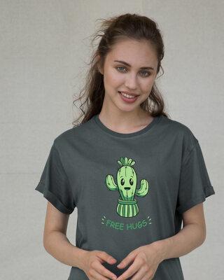 Shop Free Hugs Cactus Boyfriend T-Shirt-Front