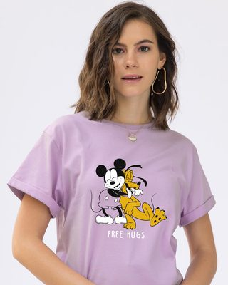 Shop Free Hugs- Mickey Boyfriend T-Shirt (DL)-Front