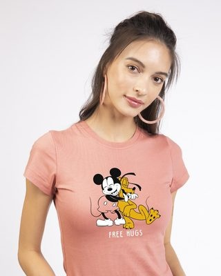 Shop Free Hugs- Mickey Half Sleeve T-shirt (DL)-Front