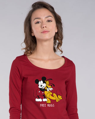 Shop Free Hugs- Mickey Scoop Neck Full Sleeve T-Shirt (DL)-Front