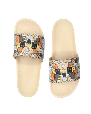 Shop FREECO Women's Dogs N Cats Print Slippers-Front