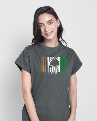 Shop Freedom Barcode Boyfriend T-Shirt - Nimbus Grey-Front