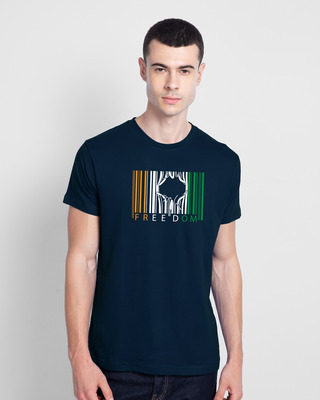 Shop Freedom Barcode Half Sleeve T-Shirt - Navy Blue-Front