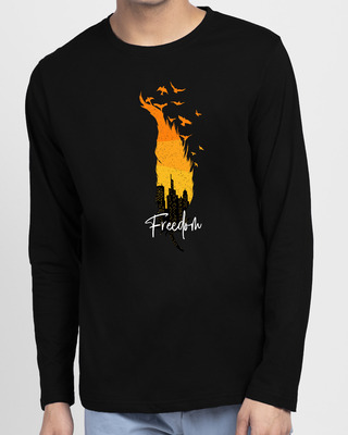 Shop Freedom Feather Full Sleeve T-Shirt Black -Front