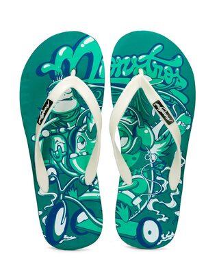 Shop Freetoes Monster Green Flip Flops For Mens-Front