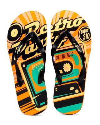 Shop Freetoes Retroparty Orangeblack Flip Flops For Mens-Front