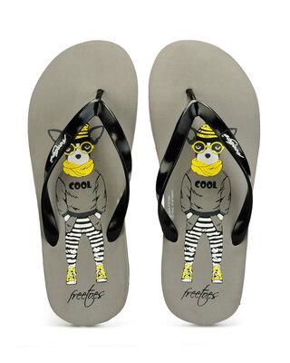 Shop Freetoes Smarty Greyblack Flip Flops For Mens-Front